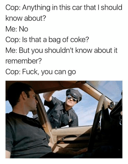 Fuck You, Fuck, and Car: Cop: Anything in this car that I should  know about?  Me: No  Cop: Is that a bag of coke?  Me: But you shouldn't know about it  remember?  Cop: Fuck, you can go