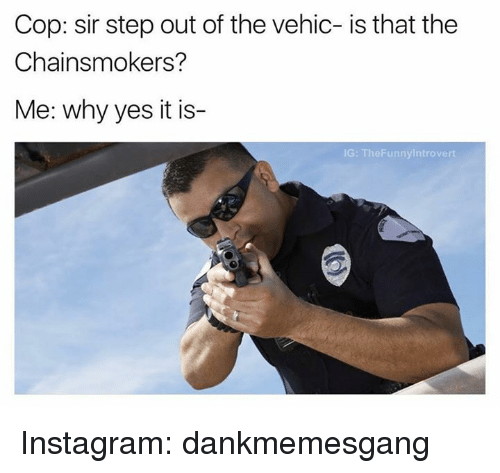 Memes, 🤖, and Yes: Cop: sir step out of the vehic- is that the  Chainsmokers?  Me: why yes it is-  IG: TheFunnyintrovert Instagram: dankmemesgang