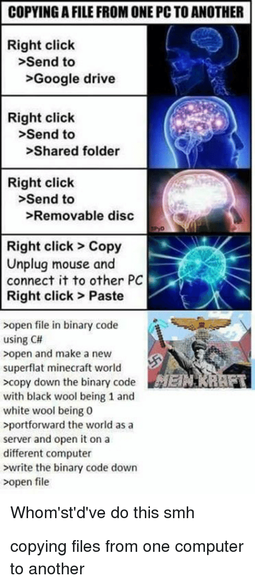 Whomstdve: COPYING A FILE FROM ONE PC TO ANOTHER  Right click  >Send to  >Google drive  Right click  >Send to  >Shared folder  Right click  >Send to  >Removable disc  Right click> Copy  Unplug mouse and  connect it to other PC  Right click> Paste  >open file in binary code  using C#  >open and make a new  superflat minecraft world  >copy down the binary codeERRAF  with black wool being 1 and  white wool being 0  portforward the world as a  server and open it on a  different computer  >write the binary code down  >open file  Whom'st'd've do this smh copying files from one computer to another
