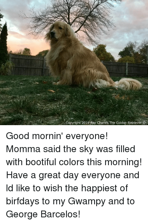 Birfday: Copyright 2016 Ray Charles The Golden Retriever Good mornin' everyone! Momma said the sky was filled with bootiful colors this morning! Have a great day everyone and ld like to wish the happiest of birfdays to my Gwampy and to George Barcelos!
