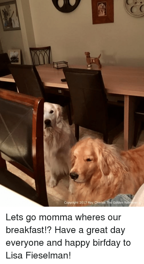 Birfday: Copyright 2017 Ray Charles The Golden Retriever Lets go momma wheres our breakfast!? Have a great day everyone and happy birfday to Lisa Fieselman!