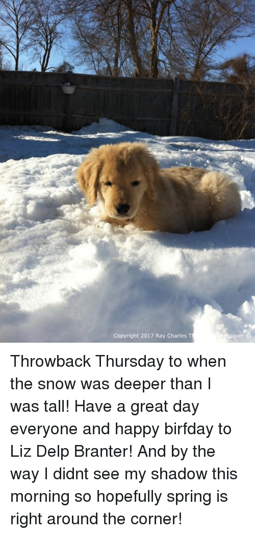 Birfday: Copyright 2017 Ray Charles Throwback Thursday to when the snow was deeper than I was tall! Have a great day everyone and happy birfday to Liz Delp Branter! And by the way I didnt see my shadow this morning so hopefully spring is right around the corner!