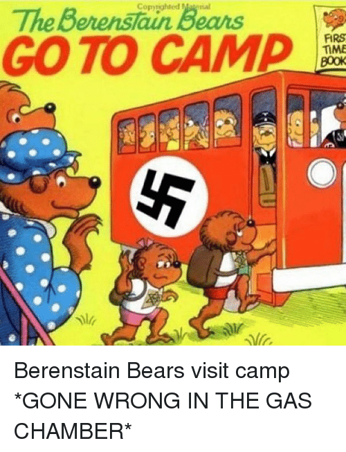 Gas Chamber: Copyrighted Matenal  TheBerenstun Beans  GO TO CAM  FIRS  TIME  or <p>Berenstain Bears visit camp *GONE WRONG IN THE GAS CHAMBER*</p>