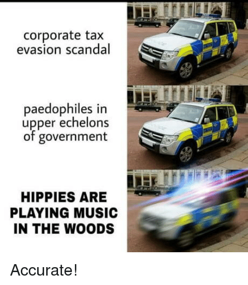 tax evasion: corporate tax  evasion scandal  paedophiles in  upper echelons  of government  HIPPIES ARE  PLAYING MUSIC  IN THE WOODS Accurate!