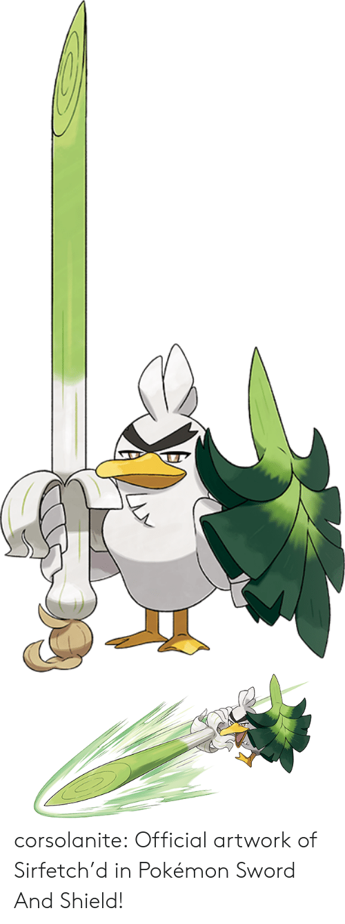 artwork: corsolanite: Official artwork of Sirfetch'd   in Pokémon Sword And Shield!