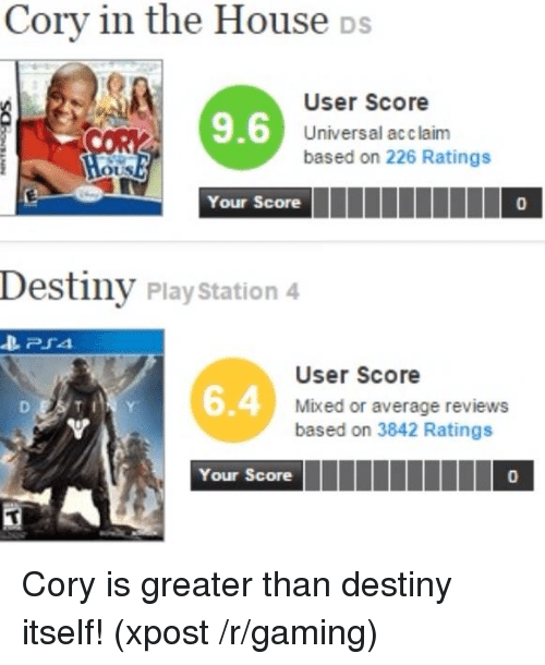 Cory In The House Ds: Cory in the House Ds  User Score  9.6  Universal acclaim  based on 226 Ratings  OUS  Your Score  Destiny PlayStation 4  PSA.  User Score  Mixed or average reviews  based on 3842 Ratings  Your Score Cory is greater than destiny itself! (xpost /r/gaming)