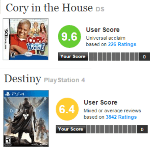Cory In The House Ds: Cory in the House DS  User Score  Universal acclaim  based on 226 Ratings  9.6  US  Your Score  0   Destiny Play Station 4  User Score  Mixed or average reviews  based on 3842 Ratings  6.4  Your Score