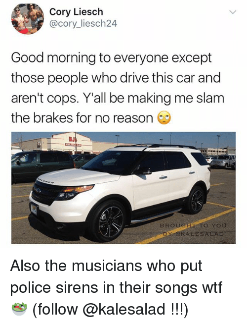 Memes, Police, and Wtf: Cory Liesch  @cory liesch24  Good morning to everyone except  those people who drive this car and  aren't cops. Y all be making me slam  the brakes for no reason  BROUGER TO YOU  BY ALESALAD Also the musicians who put police sirens in their songs wtf 🥗 (follow @kalesalad !!!)