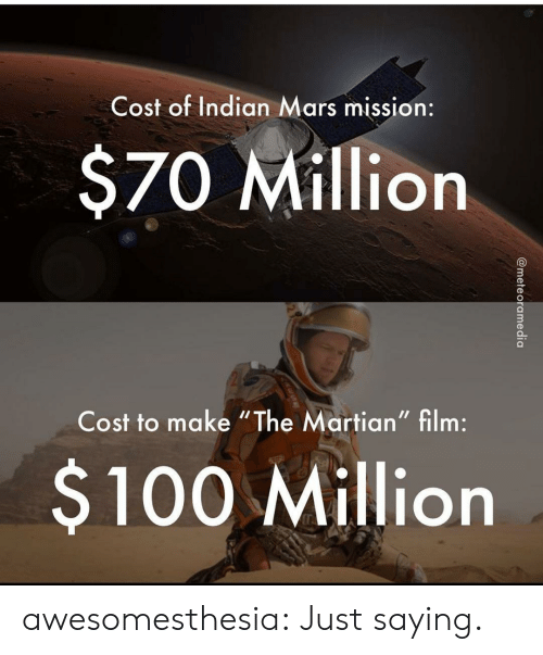 """just saying: Cost of Indian Mars mission:  $70 Million  Cost to make """"The Martian"""" film:  $100 Million  @meteoramedia awesomesthesia:  Just saying."""