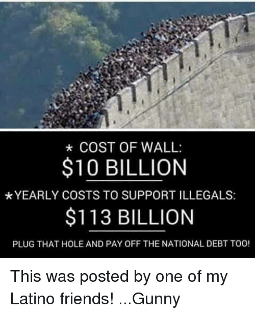Latinos, Memes, and Holes: COST OF WALL:  $10 BILLION  *YEARLY COSTS TO SUPPORTILLEGALS:  $113 BILLION  PLUG THAT HOLE AND PAY OFF THE NATIONAL DEBT TOO! This was posted by one of my Latino friends! ...Gunny