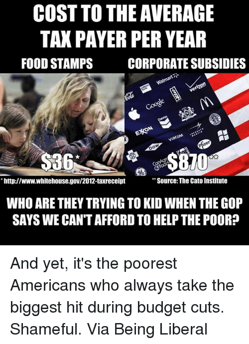 cato institute: COST TO THE AVERAGE  TAXPAYER PER YEAR  FOOD STAMPS  CORPORATESUBSIDIES  Walmar  pfizer  http://www.whitehouse.gov/2012-taxreceipt  Source: The Cato Institute  WHO ARE THEY TRYING TO KID WHEN THE GOP  SAYS WE CANTAFFORD TO HELP THE POOR? And yet, it's the poorest Americans who always take the biggest hit during budget cuts. Shameful.  Via Being Liberal