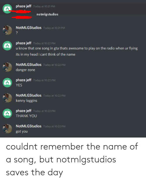 name of: couldnt remember the name of a song, but notmlgstudios saves the day