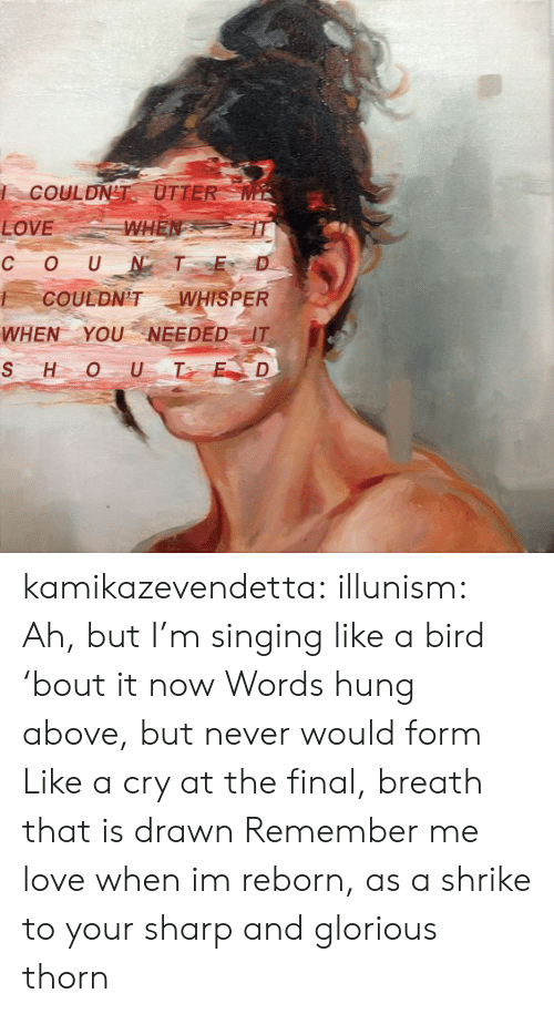 Glorious: COULDN'T UTTER  WHEN  LOVE  OUNT E  C  WHISPER  COULDN'T  WHEN YOUNEEDED IT  SHOU T ED kamikazevendetta:  illunism: Ah, but I'm singing like a bird 'bout it now Words hung above, but never would form  Like a cry at the final, breath that is drawn  Remember me love when im reborn, as a shrike to your sharp and glorious thorn