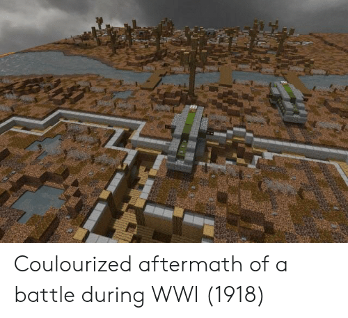aftermath: Coulourized aftermath of a battle during WWI (1918)
