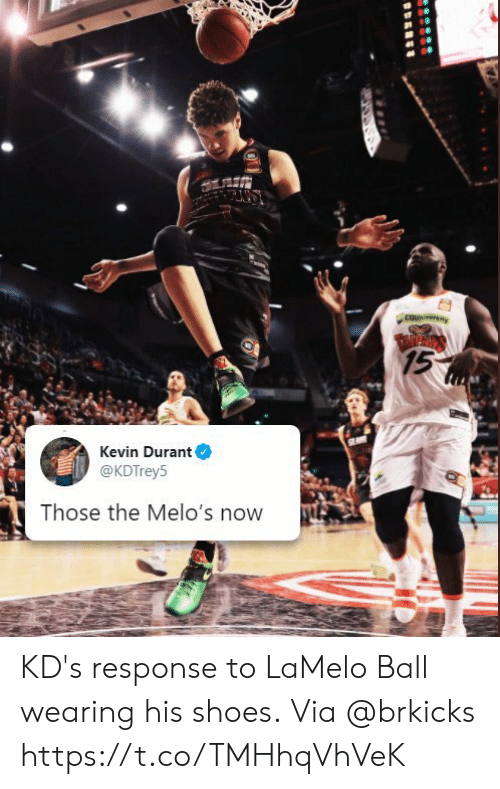 durant: couniversiay  TARPROS  15  Kevin Durant  @KDTrey5  Those the Melo's now KD's response to LaMelo Ball wearing his shoes.  Via @brkicks https://t.co/TMHhqVhVeK