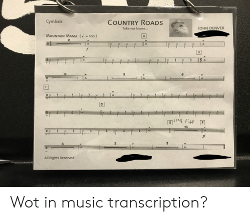 cymbals: COUNTRY ROADS  Cymbals  Take me home...  JOHN DENVER  MOUNTAIN MAMA (100)  A  f  B  6  35  P  16  ff  62  All Rights Reserved Wot in music transcription?