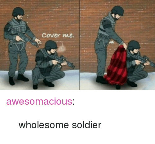 """Cover Me: cover me. <p><a href=""""http://awesomacious.tumblr.com/post/167333234430/wholesome-soldier"""" class=""""tumblr_blog"""">awesomacious</a>:</p>  <blockquote><p>wholesome soldier</p></blockquote>"""