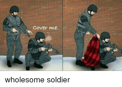 Cover Me: cover me. <p>wholesome soldier</p>