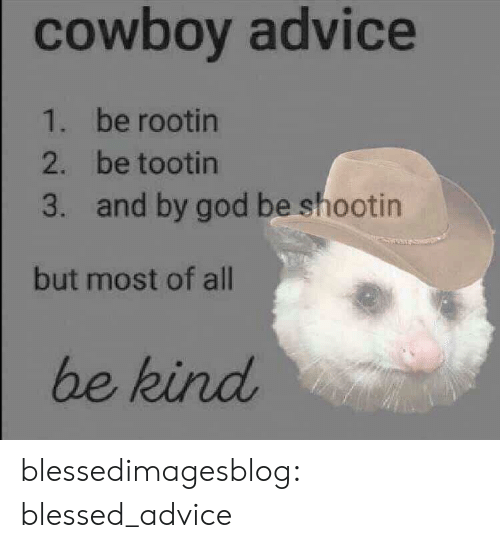 Cowboy: cowboy advice  1. be rootin  2. be tootin  and by god be shootin  3.  but most of all  be kind blessedimagesblog:  blessed_advice
