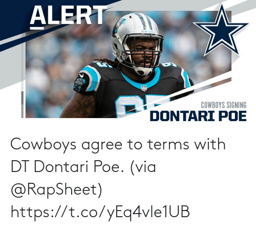 agree: Cowboys agree to terms with DT Dontari Poe. (via @RapSheet) https://t.co/yEq4vle1UB