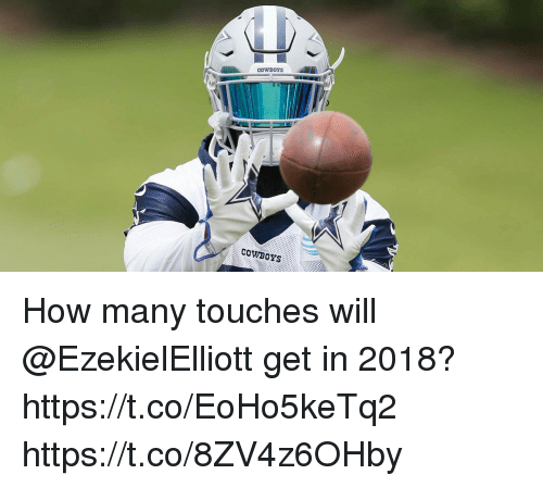 Dallas Cowboys, Memes, and 🤖: COWBOYS  COWBOYS How many touches will @EzekielElliott get in 2018? https://t.co/EoHo5keTq2 https://t.co/8ZV4z6OHby
