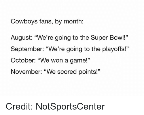 """NFL: Cowboys fans, by month:  August: """"We're going to the Super Bowl!""""  September: """"We're going to the playoffs!""""  October: """"We won a game!'""""  November: """"We scored points!""""  05 Credit: NotSportsCenter"""