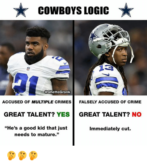 """Dallas Cowboys, Crime, and Logic: COWBOYS LOGIC  @GhettoGronk  ACCUSED OF MULTIPLE CRIMES  FALSELY ACCUSED OF CRIME  GREAT TALENT? YES  GREAT TALENT? NO  """"He's a good kid that just  needs to mature.""""  Immediately cut. 🤔🤔🤔"""