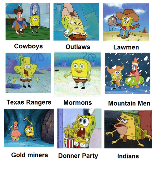 Party, Texas Rangers, and Rangers: Cowboys  Outlaws  Texas Rangers  Mormons  Gold miners Donner Party  Lawmen  Mountain Men  Indians