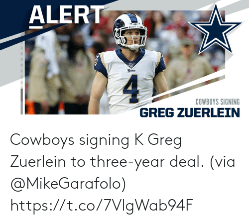 Signing: Cowboys signing K Greg Zuerlein to three-year deal. (via @MikeGarafolo) https://t.co/7VlgWab94F