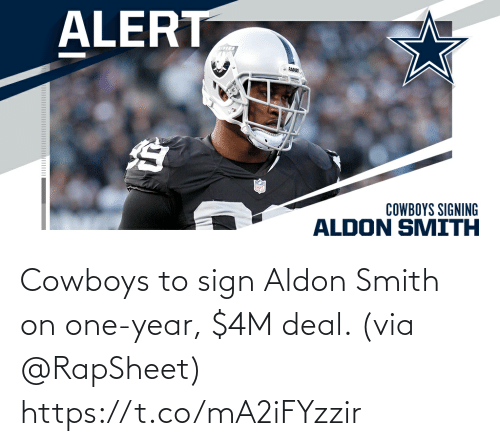 deal: Cowboys to sign Aldon Smith on one-year, $4M deal. (via @RapSheet) https://t.co/mA2iFYzzir