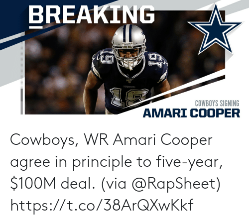 five: Cowboys, WR Amari Cooper agree in principle to five-year, $100M deal. (via @RapSheet) https://t.co/38ArQXwKkf