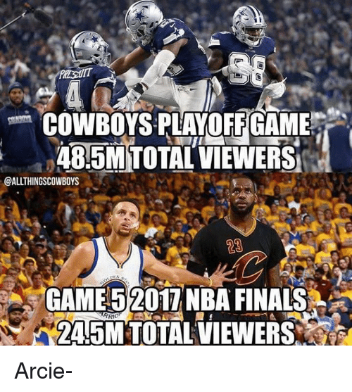 COWBOYSPLAYOFF GAME 48-5mtotal VIEWERS GAME 52017 NBA
