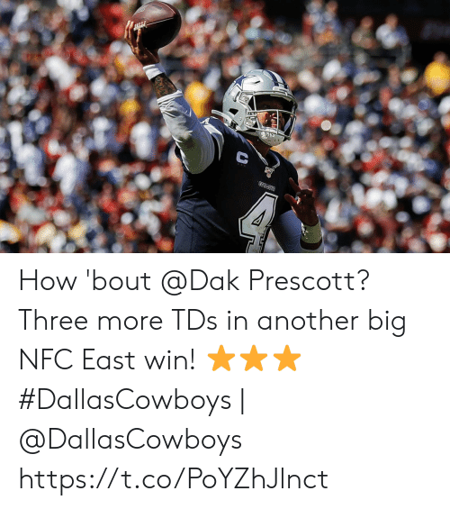 nfc east: COWECTS  क How 'bout @Dak Prescott? Three more TDs in another big NFC East win! ⭐⭐⭐  #DallasCowboys | @DallasCowboys https://t.co/PoYZhJlnct