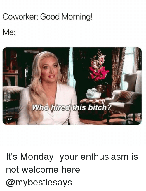 Bitch, Gif, and Good Morning: Coworker: Good Morning!  Me:  Who hired this bitch?  GIF It's Monday- your enthusiasm is not welcome here @mybestiesays