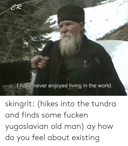 Yugoslavian: CR  I have never enjoyed living in the world. skingrit: (hikes into the tundra and finds some fucken yugoslavian old man) ay how do you feel about existing
