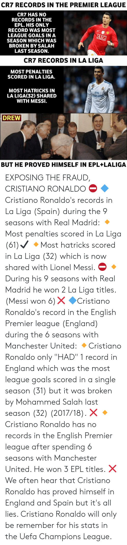 """English Premier League: CR7 RECORDS IN THE PREMIER LEAGUE  CR7 HAS NO  RECORDS IN THE  EPL. HIS ONLY  RECORD WAS MOST  LEAGUE GOALS IN A  SEASON WHICH WAS  BROKEN BY SALAH  LAST SEASON.  CR7 RECORDS IN LA LIGA  MOST PENALTIES  SCORED IN LA LIGA.  MOST HATRICKS IN  LA LIGA(32) SHARED  WITH MESSI.  mirate  DREW  BUT HE PROVED HIMSELF IN EPL+LALIGA EXPOSING THE FRAUD, CRISTIANO RONALDO ⛔  🔷️Cristiano Ronaldo's records in La Liga (Spain) during the 9 seasons with Real Madrid:  🔸️Most penalties scored in La Liga (61)✔  🔸️Most hatricks scored in La Liga (32) which is now shared with Lionel Messi. ⛔  🔸️During his 9 seasons with Real Madrid he won 2 La Liga titles. (Messi won 6)❌  🔷️Cristiano Ronaldo's record in the English Premier league (England) during the 6 seasons with Manchester United:  🔸️Cristiano Ronaldo only """"HAD"""" 1 record in England which was the most league goals scored in a single season (31) but it was broken by Mohammed Salah last season (32) (2017/18). ❌  🔸️Cristiano Ronaldo has no records in the English Premier league after spending 6 seasons with Manchester United. He won 3 EPL titles.  ❌  We often hear that Cristiano Ronaldo has proved himself in England and Spain but it's all lies. Cristiano Ronaldo will only be remember for his stats in the Uefa Champions League."""