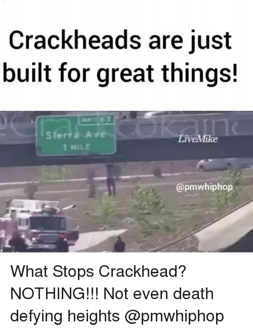 Crackhead, Memes, and Death: Crackheads are just  built for great things!  LiveMike  1 MILE  @pmwhiphop What Stops Crackhead? NOTHING!!! Not even death defying heights @pmwhiphop