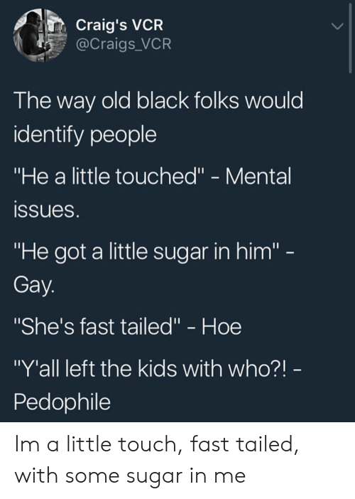 """black folks: Craig's VCR  @Craigs_VCR  The way old black folks would  identify people  """"He a little touched"""" - Mental  ssueS  """"He got a little sugar in him'""""  Gay  """"She's fast tailed"""" - Hoe  """"Y'all left the kids with who?!  Pedophile Im a little touch, fast tailed, with some sugar in me"""