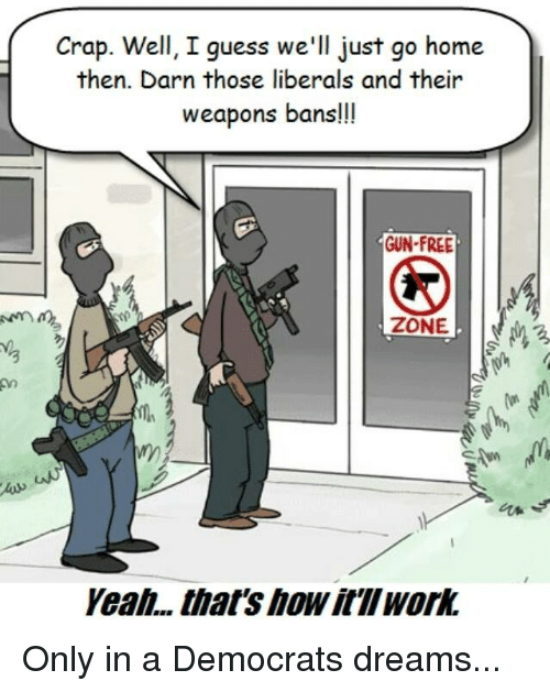 Memes, Free, and Guess: Crap. Well, I guess we'll just go home  then. Darn those liberals and their  weapons bans!!!  GUN-FREE  3  as  Yeali... .that's how it'llwork Only in a Democrats dreams...