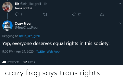 frog: crazy frog says trans rights