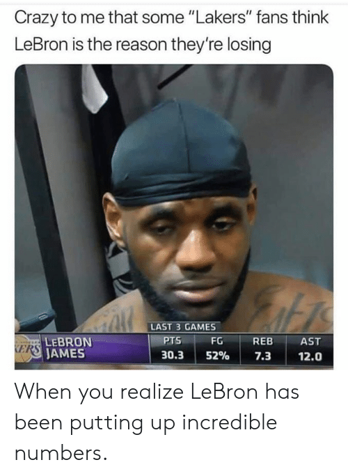"""kers: Crazy to me that some """"Lakers"""" fans think  LeBron is the reason they're losing  LAST 3 GAMES  PTS  FG REB AST  LEBRON  AMES  KERS  30.3152% 7.3 12.0 When you realize LeBron has been putting up incredible numbers."""