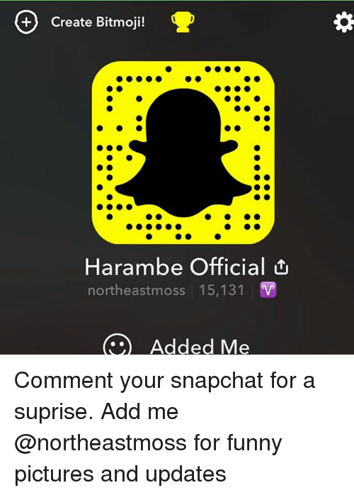 create bitmoji harambe official northeastmoss 15 131 added me comment 18706701 🔥 25 best memes about funny, harambe, and snapchat funny