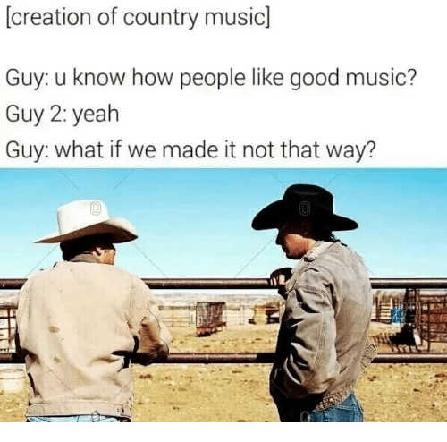 Music, Country Music, and Good: (creation of country music]  Guy: u know how people like good music?  Guy 2: yealh  Guy: what if we made it not that way?