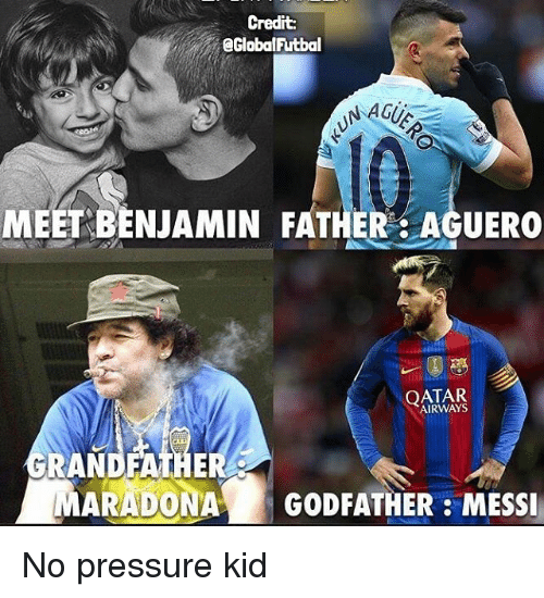 godfathers: Credit:  @Global Futbal  NAGUS  MEET BENJAMIN FATHER AGUERO  QATAR  RANDFATHER  MARADONA  GODFATHER MESSI No pressure kid