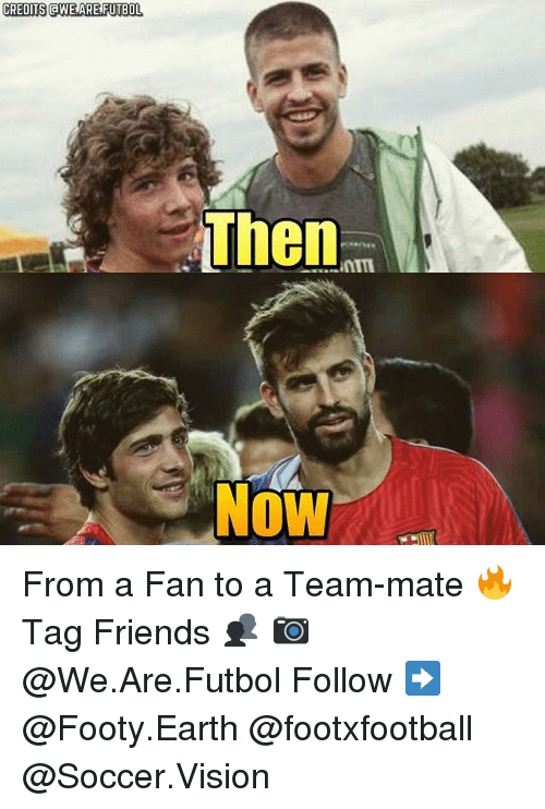 aweful: CREDITS aWE ARE FUTBOL  Then  Now From a Fan to a Team-mate 🔥 Tag Friends 👥 📷 @We.Are.Futbol Follow ➡ @Footy.Earth @footxfootball @Soccer.Vision