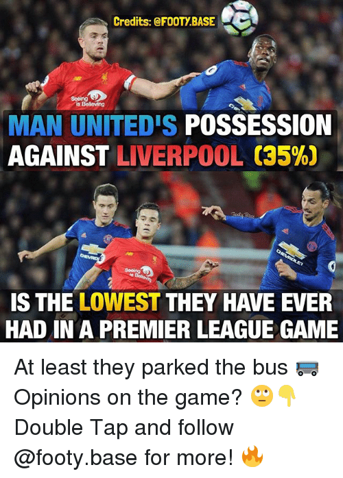 premier-league-game: Credits: @FOOTY BASE  MAN UNITED'S POSSESSION  AGAINST LIVERPOOL (35%)  IS THE LOWEST THEY HAVE EVER  HAD IN A PREMIER LEAGUE GAME At least they parked the bus 🚌 Opinions on the game? 🙄👇 Double Tap and follow @footy.base for more! 🔥