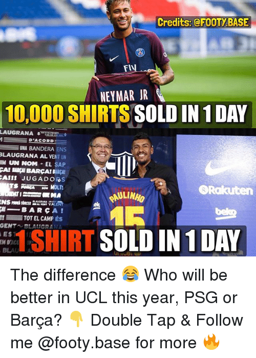 noms: Credits:@FOOTYBASE  NEYMAR JR  10,000 SHIRTS SOLD IN 1 DAY  LAUGRANA45  D'ACORD  UNA BANDERA ENS  LAUGRANA AL VENT UN  111 UN NOM-EL SAP  CAI BARÇH BARCA! BARCA!  Rakuten  AULINHO  ek  μ-BARCA!  TOT EL CAMP ÉS  GENT BLAUGRANA  EST  1 SHIRT SOLD IN 1 DAY The difference 😂 Who will be better in UCL this year, PSG or Barça? 👇 Double Tap & Follow me @footy.base for more 🔥