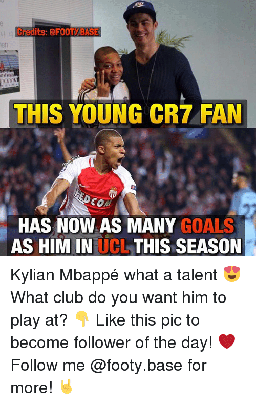 Memes, 🤖, and Ucl: Credits: QFOOTABASE  THIS YOUNG CR7 FAN  3Dco  HAS NOW AS MANY GOALS  AS HIM IN  UCL THIS SEASON Kylian Mbappé what a talent 😍 What club do you want him to play at? 👇 Like this pic to become follower of the day! ❤️ Follow me @footy.base for more! 🤘