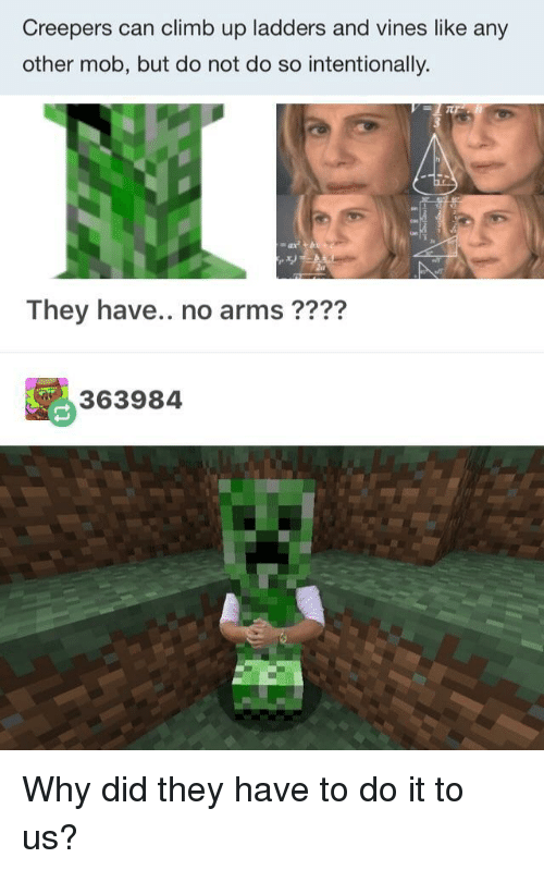 ladders: Creepers can climb up ladders and vines like any  other mob, but do not do so intentionally.  They have.. no arms ????  363984 Why did they have to do it to us?