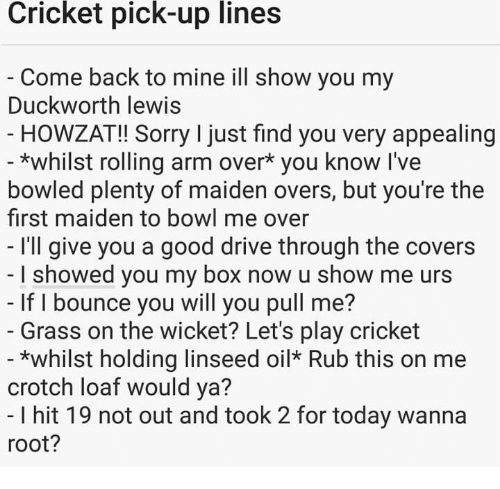 Sorry, Covers, and Cricket: Cricket  pick-up  lines  Come back to mine ill show you my  Duckworth lewis  - HOWZAT!! Sorry I just find you very appealing  *whilst rolling arm over* you know l've  bowled plenty of maiden overs, but you're the  first maiden to bowl me over  I'll give you a good drive through the covers  I showed you my box now u show me urs  If I bounce you will you pull me?  Grass on the wicket? Let's play cricket  *whilst holding linseed oil Rub this on me  crotch loaf would ya?  I hit 19 not out and took 2 for today wanna  root?